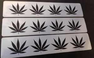 3 x cannabis leave stencil strips for wall decoration   pub restaurant living room  leaves